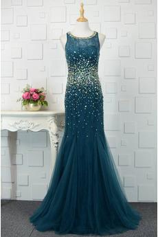 Tüll Tanzparty Keine Taille Ärmellos Kristall hoch gedeckt Abendkleid