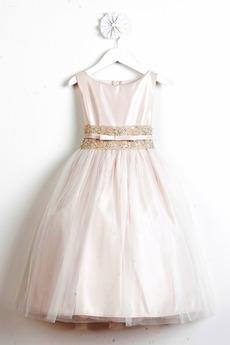 Champagner Satin Natürliche Taille Prinzessin Blumenmädchen kleid