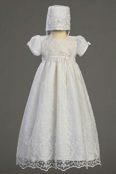 Zierlich Kurze Ärmel Lange Zeremonie Juwel Blumenmädchen kleid