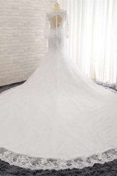 Taste Meerjungfrau Schlüsselloch zurück Lange Ärmel Tüll Brautkleid