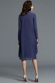 Drapiert Anzug Sommer Reißverschluss T Hemd Natürliche Taille Mutter kleid