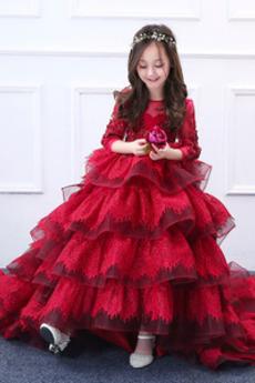 Lange Illusionshülsen Natürliche Taille Kleine Mädchen Kleid