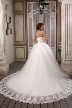 Formalen Draussen Natürliche Taille Ärmellos Tüllauflage Brautkleid