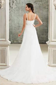 Drapiert Reich Taille Spitze Elegante Reißverschluss Brautkleid