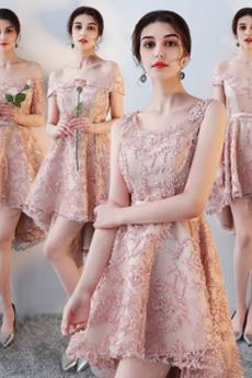 Asymmetrisch Spitze Tau Schulter Natürliche Taille Brautjungfernkleid