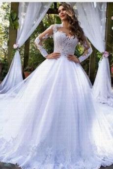 Draussen Königin anne Lange Ärmel Natürliche Taille Spitze Brautkleid