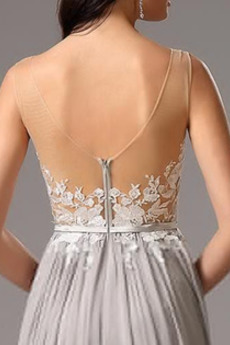 Natürliche Taille A Linie Appliques Reißverschluss Abendkleid