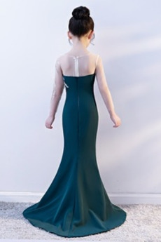 Lange Satiniert A Linie Illusionshülsen Kleine Mädchen Kleid