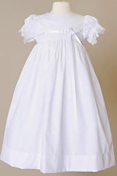 Kurze Ärmel Satin Bow Sommer Natürliche Taille Blumenmädchen kleid