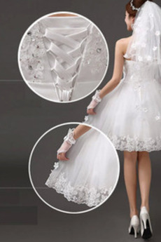 Knielänge Bow Ärmellos Akzentuierter Bogen Glamourös Brautkleid