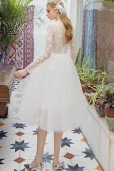 Juwel Lange Ärmel Mehrschichtig Tüll Illusionshülsen Brautkleid