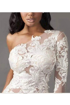 Lange Ärmel Draussen Natürliche Taille Spitze Hochzeitskleid