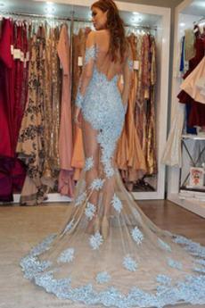 Glamourös Bördeln Durchschauen Lange Natürliche Taille Abendkleid