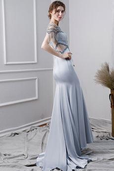 Trichter Satiniert Breit flach Natürliche Taille Glänzend Abendkleid