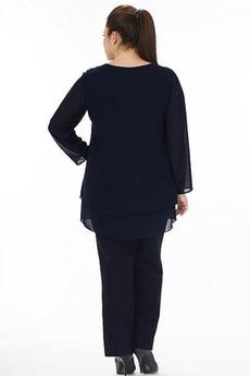 Einfach Natürliche Taille Anzug Chiffon Mutter kleid mit Ärmeln
