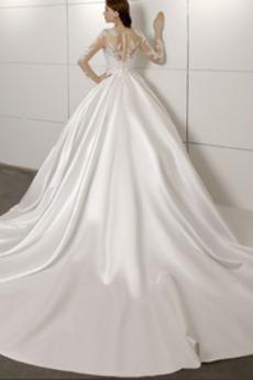 A Linie Kathedrale Zug Natürliche Taille Spitze Reiner zurück Brautkleid