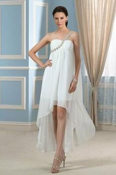 asymmetrische Eine Schulter asymmetrische Rückenlose Brautkleid
