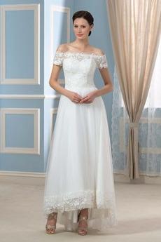 Bogen Lehnenlose Illusionshülsen Brautkleid mit kurzen Ärmeln
