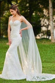 Fegen zug Natürliche Taille Spitze Sexy Meerjungfrau Brautkleid