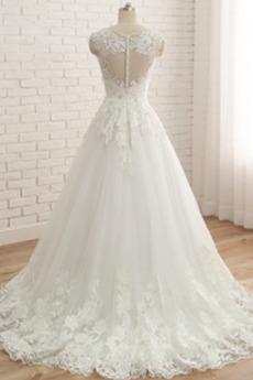 V-Ausschnitt A Linie Ärmellos Natürliche Taille Lange Brautkleid