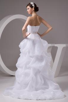Fiel Taille Reißverschluss Ärmellos Perlengürtel Trägerlose Brautkleid