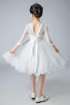 Juwel Natürliche Taille Rückenfrei Spitze Blumenmädchen kleid