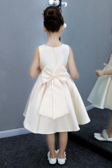 Bogen A Linie Natürliche Taille Akzentuierter Bogen Blumenmädchen kleid