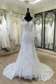Spitze Spitze Formalen Kirche Natürliche Taille Fallen Brautkleid