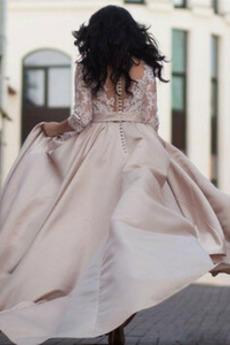 3/4 Länge Ärmel Schaltfläche Frenal Illusionshülsen Hochzeitskleid