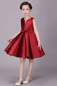 Knielänge Natürliche Taille Glamourös Satiniert Blumenmädchen kleid