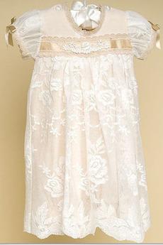 Juwel Zeremonie Spitze Knöchellänge Prinzessin Blumenmädchen kleid