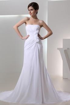 Chiffon Natürliche Taille Lange Ärmellos Einfache Brautkleid