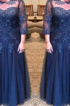 Spitze Illusionshülsen 3/4 Länge Ärmel Bördeln Juwel akzentuiertes Mieder Mutter kleid