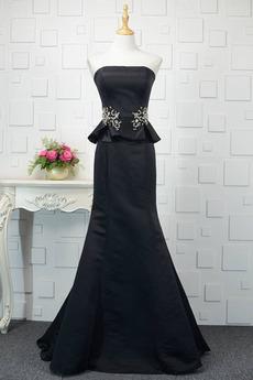 Elastischer Satin Trägerlos Juwel akzentuiertes Mieder Lange Abendkleid