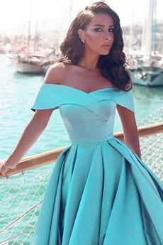 Natürliche Taille Ärmellos Drapiert Tau Schulter Reißverschluss Abendkleid
