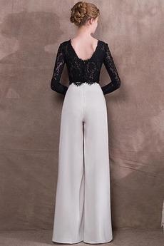 Spandex Trichter Spitze Lange Ärmel Fallen Reißverschluss Abendkleid