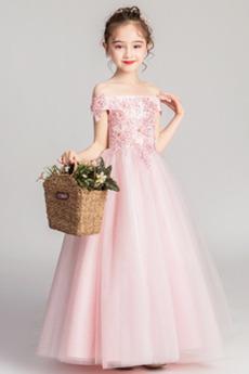 Swing Natürliche Taille Kurze Ärmel Hochzeit Blumenmädchen kleid