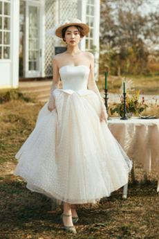 Trägerlos Natürliche Taille Schaukel Trichter Sommer Brautkleid