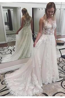 Fallen A Linie Tüll Sexy Fegen zug Birne Breit flach Hochzeitskleid
