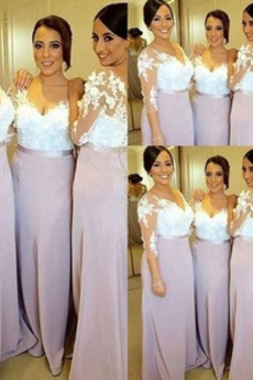 Formalen Illusionshülsen V-Ausschnitt Meerjungfrau Brautjungfer Kleid