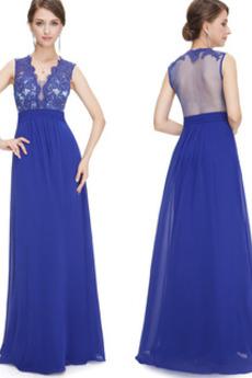 V-Ausschnitt Zierlich Reiner zurück Elegante Leistung Abendkleid