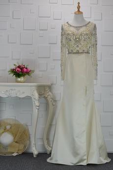 Juwel Illusionshülsen Natürliche Taille Reißverschluss Abendkleid