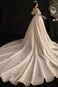 Kurze Ärmel Trichter Funkeln Reißverschluss Bördeln Brautkleid