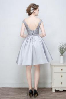 Ärmellos Spitzenüberlagerung Natürliche Taille Brautjungfernkleid