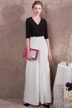 Knöchellänge Trichter Schwarz V-Ausschnitt Anzug Elasthan Abendkleid