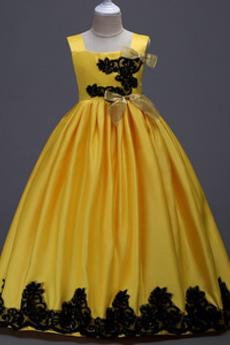 Fallen Bodenlänge Akzentuierter Bogen Hochzeit Blumenmädchen kleid