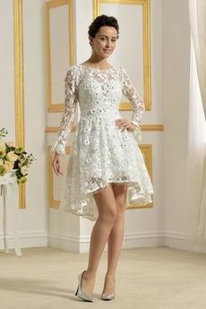 Illusionshülsen Schöne Reißverschluss Lange Ärmel Brautkleid