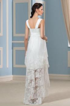 Strand Rechteck Frühling Reißverschluss Asymmetrisch Brautkleid