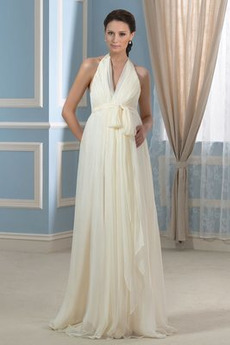 Strand Reich Taille V-Ausschnitt Gefaltete Mieder Rückenlose Brautkleid
