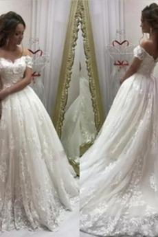 T Hemd Rückenfrei Spitze Natürliche Taille Brautkleid mit kurzen Ärmeln